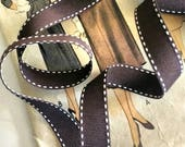 Brown and White Grosgrain Ribbon, Brown Saddle Stitch Ribbon