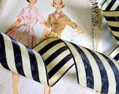 "Black and Ivory Striped Ribbon, Black Striped Vintage Style Ribbon 2"" inch"