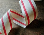 """Red and Cream Striped Ribbon, Natural Cotton Red Ticking Stripe Farmhouse Ribbon 1.5"""""""