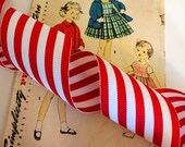 "Red and White Striped Ribbon, Classic Christmas Grosgrain Ribbon 2.25"" 5 Yards"