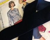 """Midnight Blue Velvet Ribbon for Bows, Floral, and Millinery 1.5"""" Dark Blue Velvet Ribbon"""