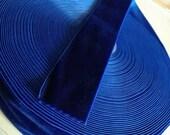 """Colbalt Blue Velvet Ribbon for Bows, Floral, and Millinery 1.5"""" inch 25 yard Wholesale Velvet Ribbon"""
