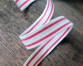 """Red and Cream Striped Ribbon, Natural Cotton Red Ticking Stripe Farmhouse Ribbon 5/8"""""""
