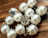 Pearl Shank Buttons, Vintage Pearl Buttons in Antique Silver Metal Alloy Finish 10mm