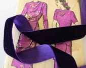 """Dark Purple Velvet Ribbon for Bows, Floral, and Millinery 1"""" 25mm"""