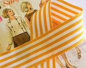 "Golden Yellow and White Striped Ribbon, Striped Grosgrain Ribbon 1.5"""