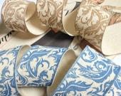 "Damask Ribbon, Natural Ivory Floral Printed Burlap Cotton Blend Linen Ribbon 1.5"" inch Blue and Light Brown"