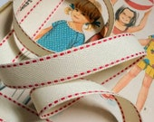 "Ivory and Red Twill Ribbon, Red Saddle Stitch Ribbon 5/8"""