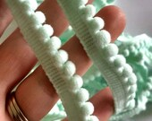 Pale Green Aqua Mini Pom Pom Trim, Small Pom Pom Trim 3/8""