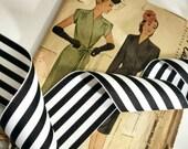 "Black and White Striped Ribbon, Striped Grosgrain Ribbon 2.25"" inch"