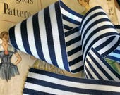 "Navy Blue and White Striped Ribbon, Striped Nautical Ribbon 2.25"" inch Grosgrain"