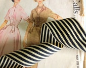 """Black and Ivory Striped Ribbon, Striped Grosgrain Ribbon 1.5"""" inch"""