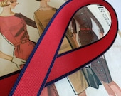 """Red and Navy Ribbon, Nautical Red and Blue Striped Ribbon, Grosgrain Polo Ribbon 7/8"""" inch"""