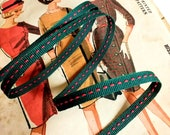 """Green and Red Saddle Stitch Ribbon, Classic Red and Green Christmas Ribbon, Red Green Grosgrain Ribbon 3/8"""""""
