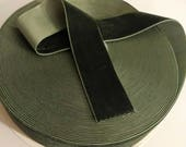 """Olive Sage Green Velvet Ribbon, Natural Woodland Green Ribbon for Bows, Floral, and Millinery 1.5"""" 38mm Wholesale 25 Yard Roll"""
