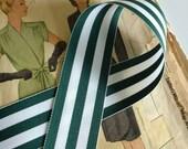 "Green and White Striped Ribbon, Dark Green Grosgrain Ribbon 1.5"" 5 Yards"