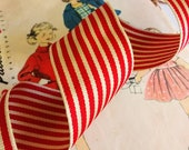 Red and Ivory Striped Rib...