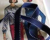 "Navy Saddle Stitch Ribbon, Nautical Navy Blue and White Grosgrain Ribbon,  5/8"" inch"
