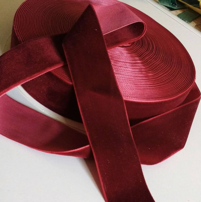 Burgundy Red Velvet Ribbon for Bows Floral and Millinery image 0
