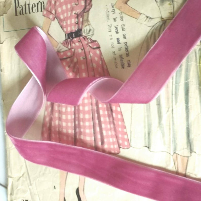 Rose Pink Velvet Ribbon for Bows Floral and Millinery image 0