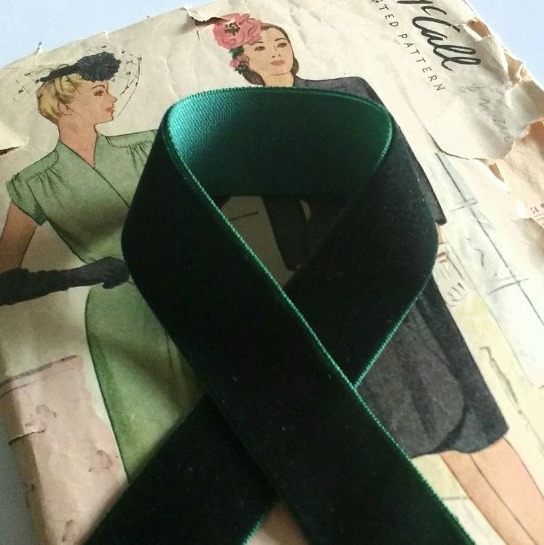 Dark Green Velvet Ribbon for Bows Floral and Millinery image 0