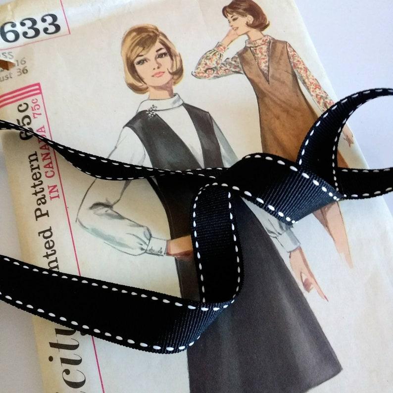 Black Saddle Stitch Ribbon Black and White Grosgrain Ribbon image 1