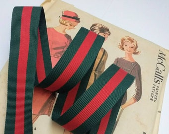 """Red and Green Striped Ribbon, Classic Christmas Ribbon, Red Green Grosgrain Designer Ribbon 1.5"""" and 7/8"""""""