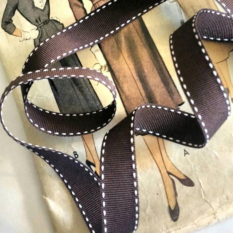 Brown and White Grosgrain Ribbon Brown Saddle Stitch Ribbon image 0