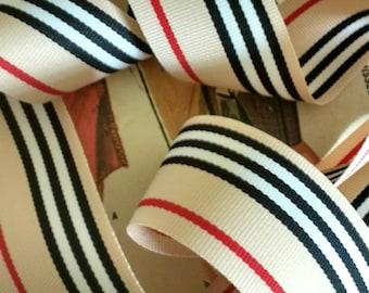 "Tan, Black, White and Red Grosgrain Ribbon, Classic Striped Grosgrain Ribbon 1.5"" inch"