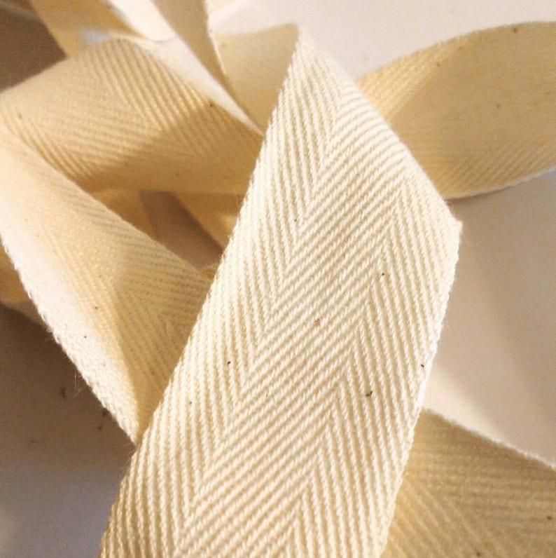 Cotton Twill Tape Natural Ivory Herringbone Ribbon 1 image 1