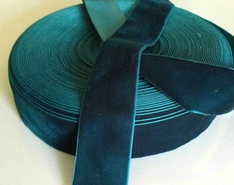 "Dark Teal Blue Velvet Ribbon for Bows, Floral, and Millinery 1"" and 1.5"" 25 Yards Wholesale Velvet Ribbon"