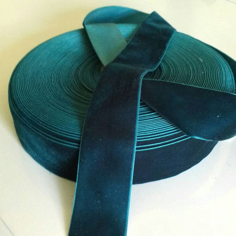 Dark Teal Blue Velvet Ribbon for Bows Floral and Millinery image 0