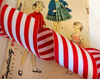 """Red and White Striped Ribbon, Classic Christmas Grosgrain Ribbon 2.25"""" 5 Yards"""