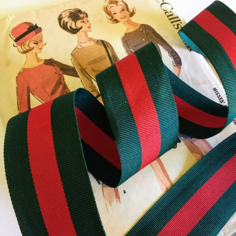 Red and Green Striped Ribbon Classic Christmas Ribbon Red image 0