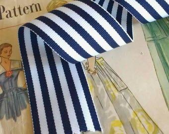"Navy Blue and White Striped Ribbon, Striped Nautical Ribbon 1.5"" Grosgrain"