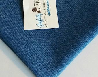 Stretch Denim Fabric, Lightweight Country Blue Jean Denim by the Half Yard