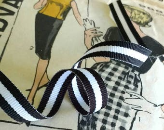 "Black and White Striped Ribbon, Striped Grosgrain Ribbon 3/8"" inch"