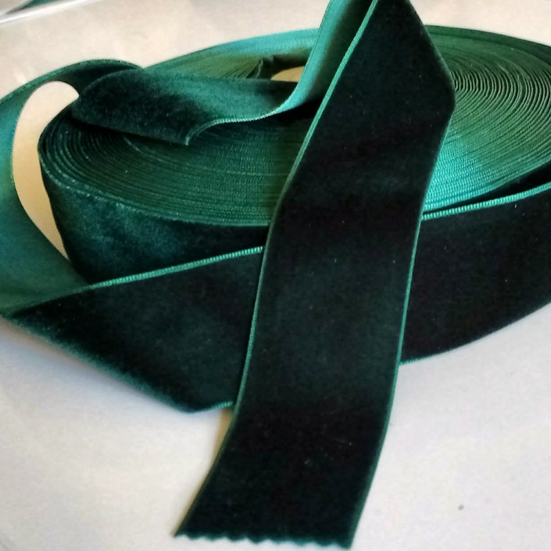 Dark Green Velvet Ribbon for Bows Floral and Millinery image 0