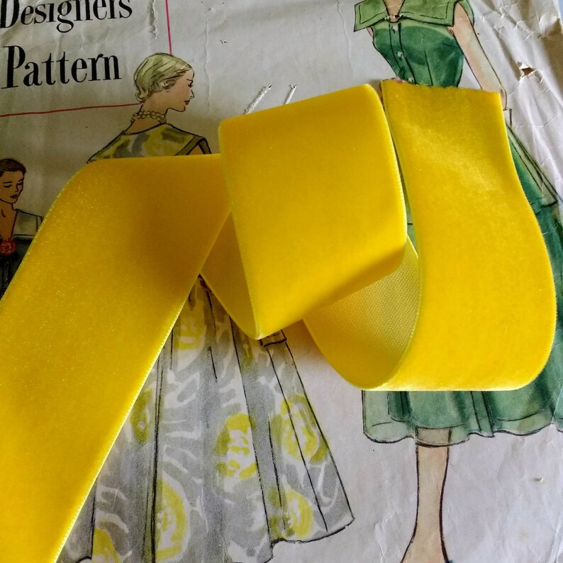 Mustard Yellow Velvet Ribbon for Bows Floral and Millinery image 0