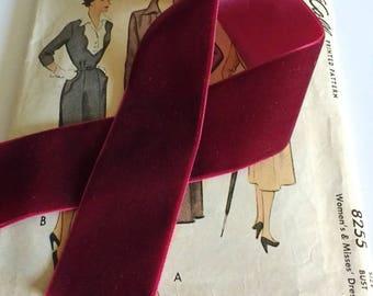 """Burgundy Velvet Ribbon for Bows, Floral, and Millinery 1"""" and 1.5"""" inch Dark Red Velvet Ribbon"""