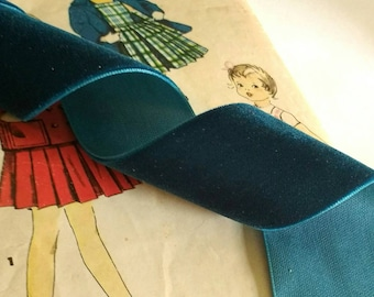 """Dark Teal Blue Velvet Ribbon for Bows, Floral, and Millinery 1"""" and 1.5"""" inch"""