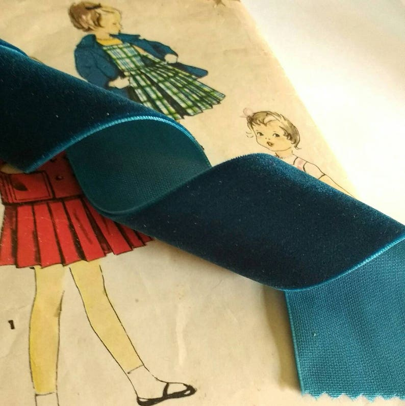 Dark Teal Blue Velvet Ribbon for Bows Floral and Millinery image 0