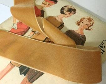 """Burnt Gold Velvet Ribbon, Tan Velvet Ribbon for Bows, Floral, and Millinery 1.5"""" 38mm"""