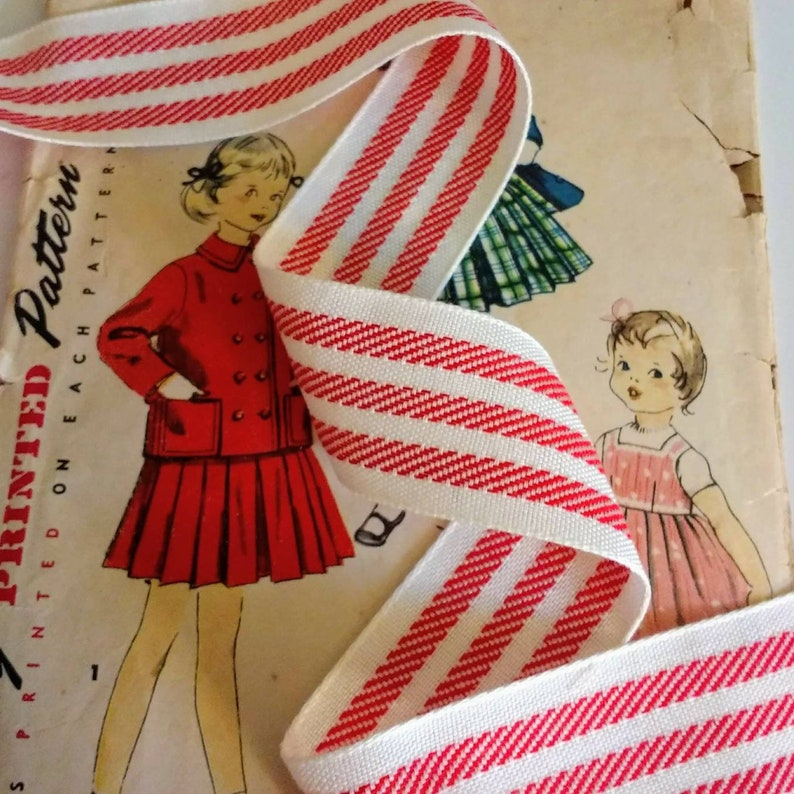 Red and White Striped Ribbon Classic Woven Farmhouse Ribbon image 0
