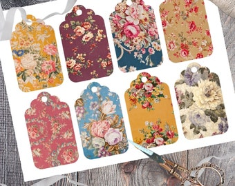 Printable Antique Floral Gift Tags, Vintage Fabric Inspired Tags, Instant Digital Download, Set of 8 Pastel Floral Pattern Design Gift Tag