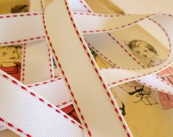 """White and Red Grosgrain Ribbon, Red Saddle Stitch Ribbon,Classic Christmas Grosgrain Ribbon 5/8"""""""