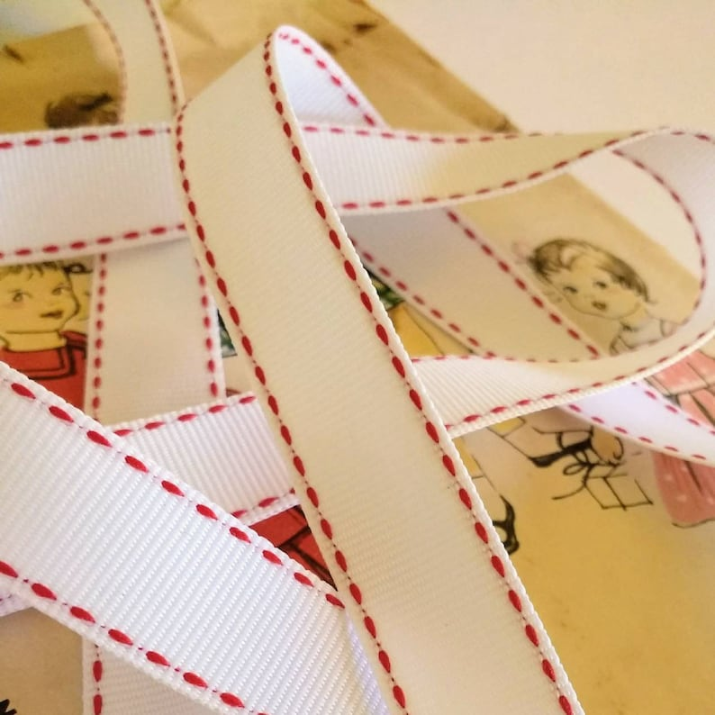 White and Red Grosgrain Ribbon Red Saddle Stitch image 0