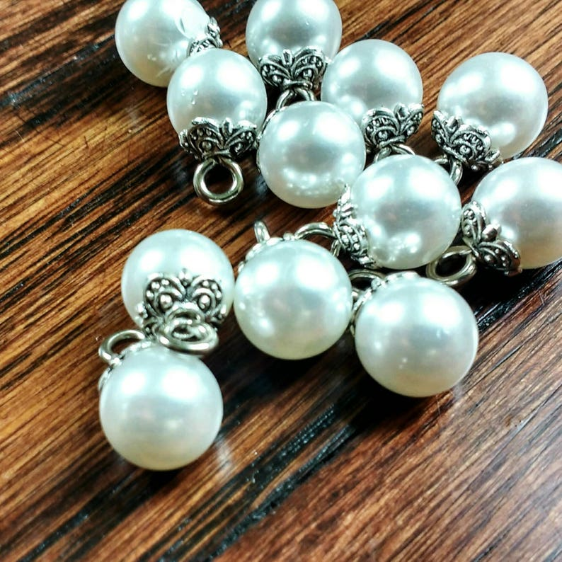 Pearl Shank Buttons Vintage Pearl Buttons in Antique Silver image 0