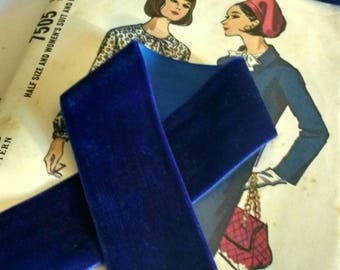 """Colbalt Blue Velvet Ribbon for Bows, Floral, and Millinery 1"""" and 1.5"""" inch"""