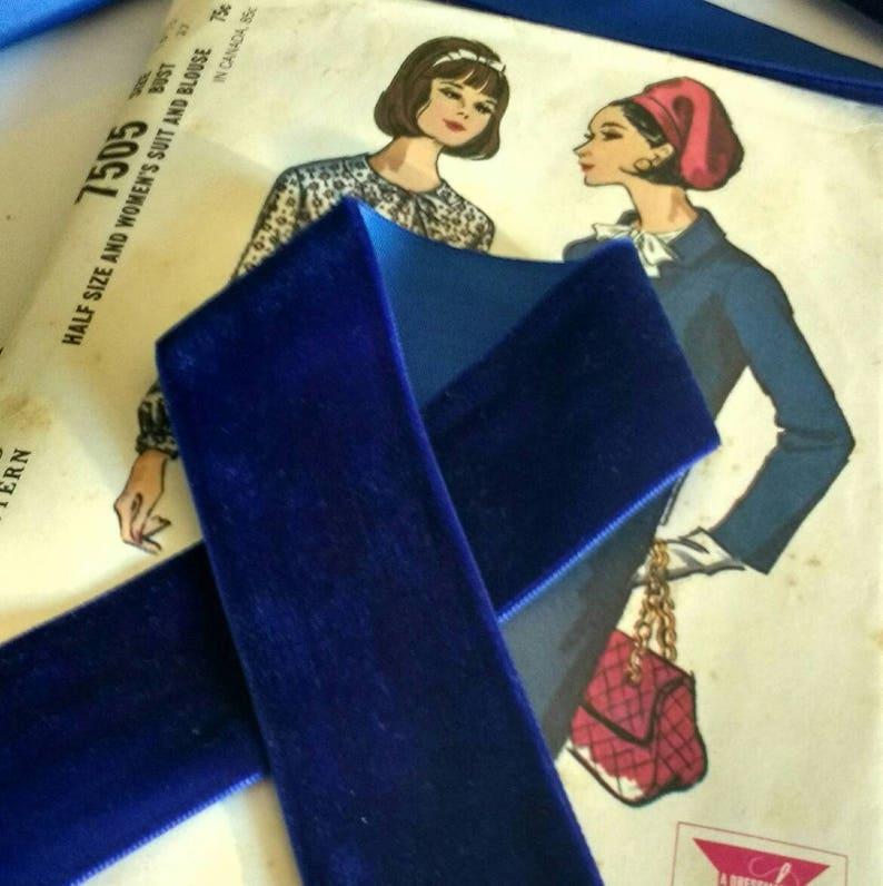 Colbalt Blue Velvet Ribbon for Bows Floral and Millinery image 0